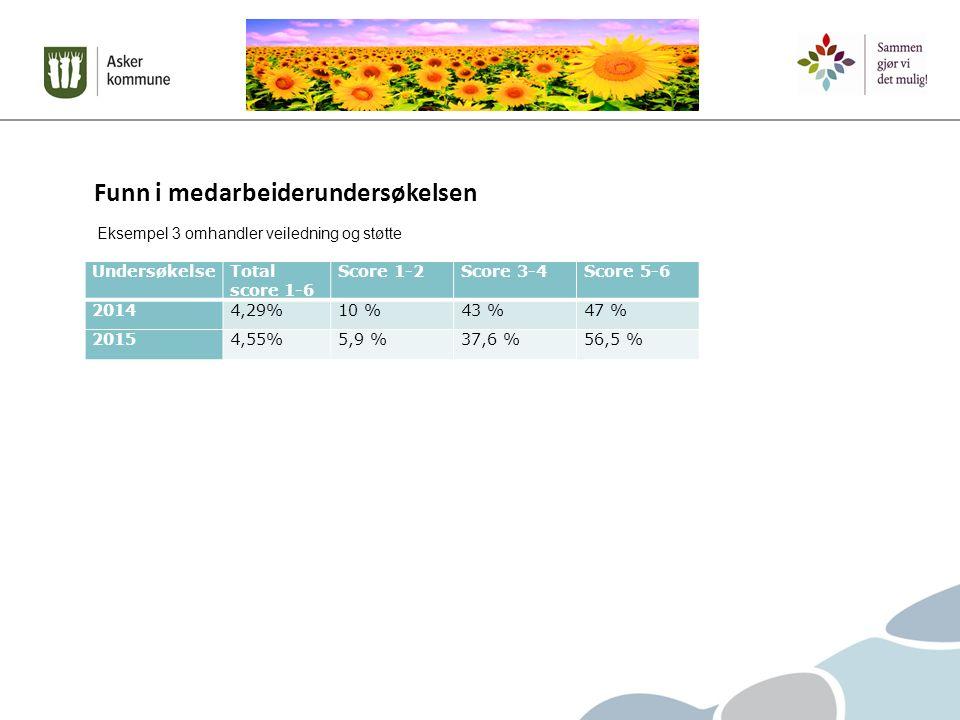 Funn i medarbeiderundersøkelsen UndersøkelseTotal score 1-6 Score 1-2Score 3-4Score 5-6 20144,29%10 %43 %47 % 20154,55%5,9 %37,6 %56,5 % Eksempel 3 omhandler veiledning og støtte