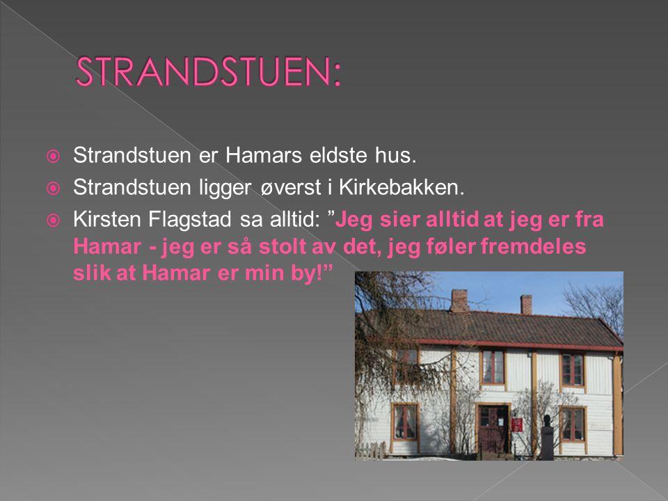 """ Strandstuen er Hamars eldste hus.  Strandstuen ligger øverst i Kirkebakken.  Kirsten Flagstad sa alltid: """"Jeg sier alltid at jeg er fra Hamar - je"""