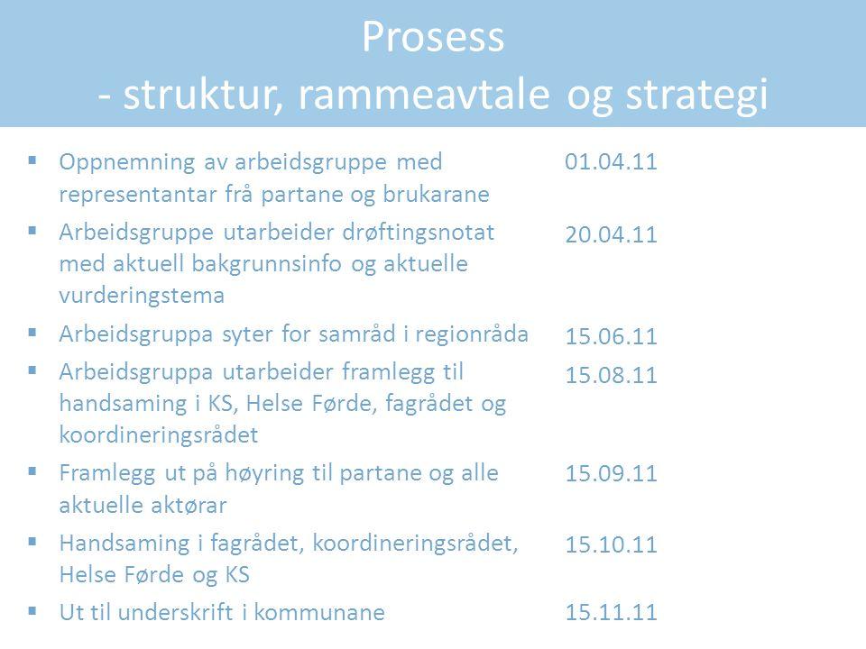 Prosess - struktur, rammeavtale og strategi  Oppnemning av arbeidsgruppe med representantar frå partane og brukarane  Arbeidsgruppe utarbeider drøft