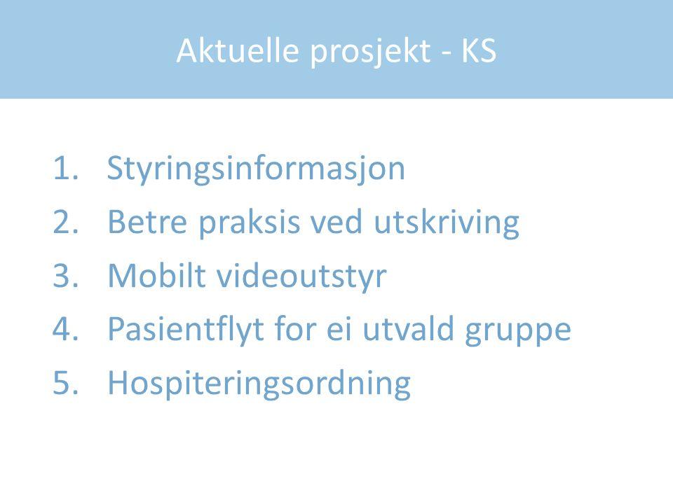 Aktuelle prosjekt - KS 1.Styringsinformasjon 2.Betre praksis ved utskriving 3.Mobilt videoutstyr 4.Pasientflyt for ei utvald gruppe 5.Hospiteringsordning