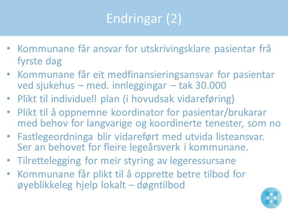 Kommunane får ansvar for utskrivingsklare pasientar frå fyrste dag Kommunane får eit medfinansieringsansvar for pasientar ved sjukehus – med. innleggi
