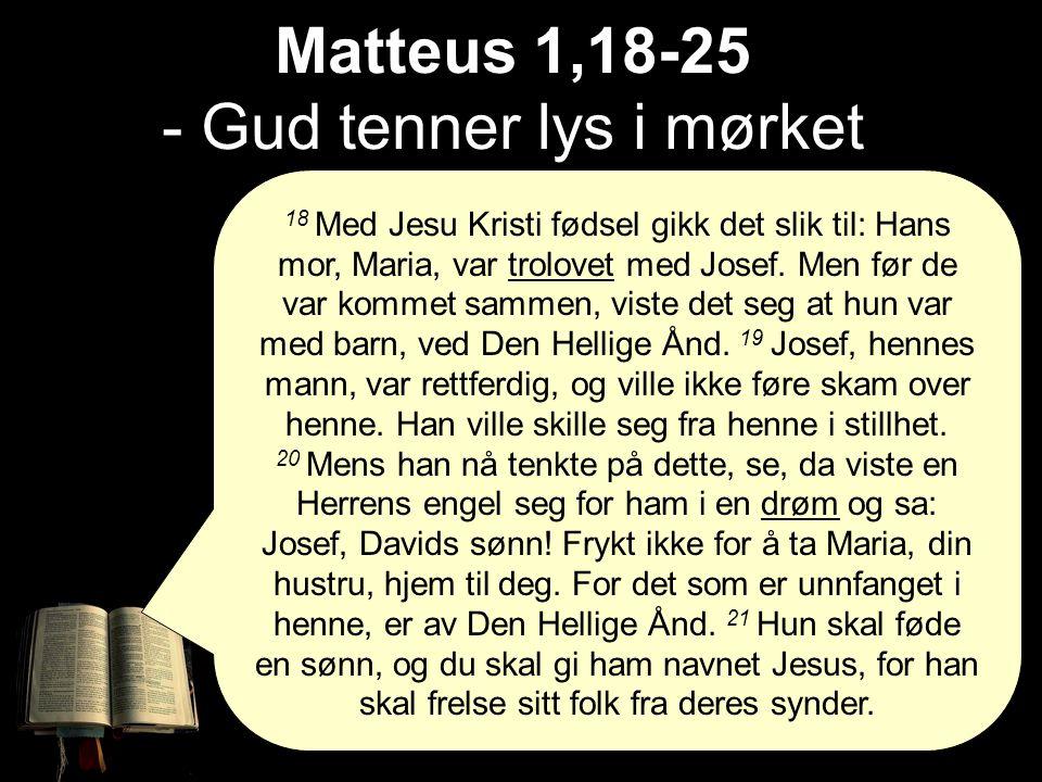 18 Med Jesu Kristi fødsel gikk det slik til: Hans mor, Maria, var trolovet med Josef.