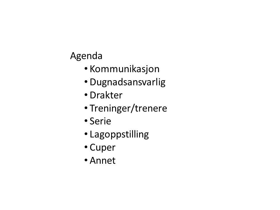 Agenda Kommunikasjon Dugnadsansvarlig Drakter Treninger/trenere Serie Lagoppstilling Cuper Annet