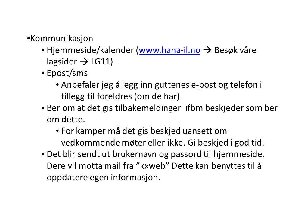 Kommunikasjon Hjemmeside/kalender (www.hana-il.no  Besøk våre lagsider  LG11)www.hana-il.no Epost/sms Anbefaler jeg å legg inn guttenes e-post og telefon i tillegg til foreldres (om de har) Ber om at det gis tilbakemeldinger ifbm beskjeder som ber om dette.