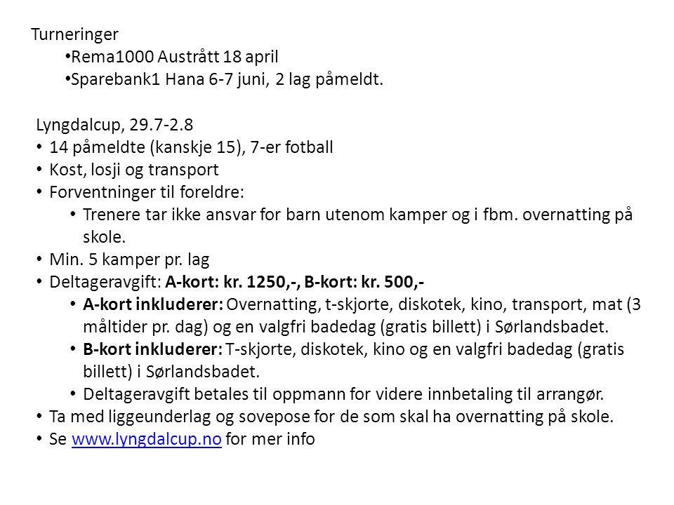 Turneringer Rema1000 Austrått 18 april Sparebank1 Hana 6-7 juni, 2 lag påmeldt.
