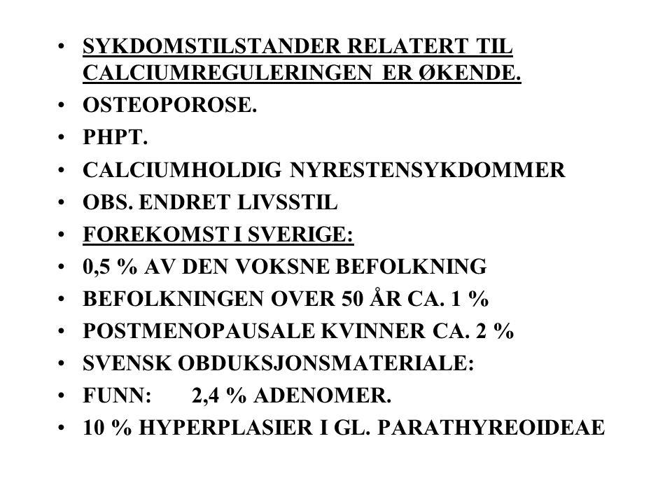SYKDOMSTILSTANDER RELATERT TIL CALCIUMREGULERINGEN ER ØKENDE.