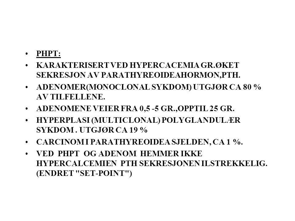 PHPT: KARAKTERISERT VED HYPERCACEMIA GR.ØKET SEKRESJON AV PARATHYREOIDEAHORMON,PTH.