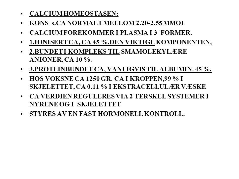 CALCIUM HOMEOSTASEN: KONS s.CA NORMALT MELLOM 2.20-2.55 MMOL CALCIUM FOREKOMMER I PLASMA I 3 FORMER.