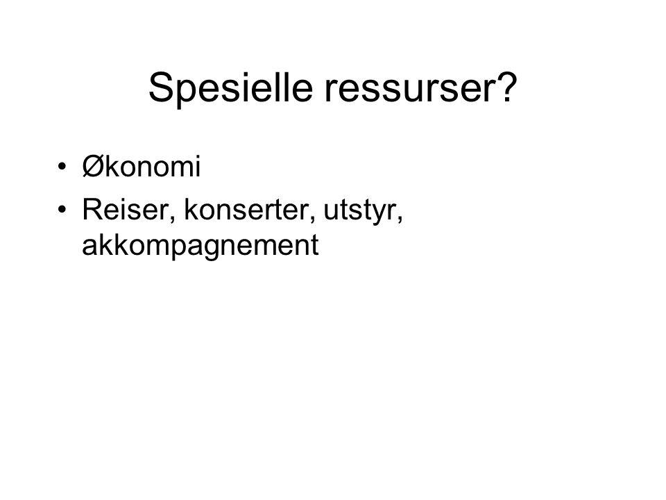 Spesielle ressurser Økonomi Reiser, konserter, utstyr, akkompagnement