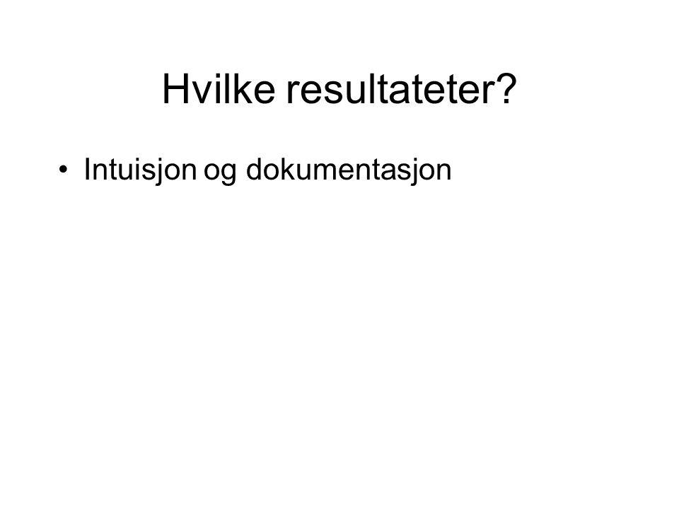 Hvilke resultateter Intuisjon og dokumentasjon