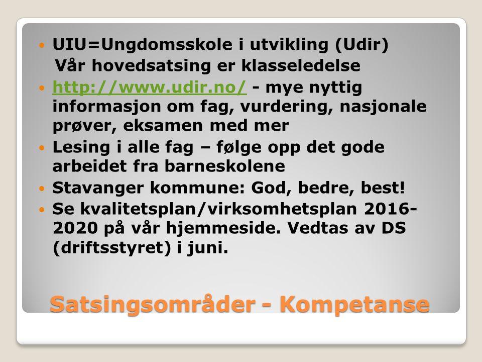 Satsingsområder - Kompetanse UIU=Ungdomsskole i utvikling (Udir) Vår hovedsatsing er klasseledelse http://www.udir.no/ - mye nyttig informasjon om fag, vurdering, nasjonale prøver, eksamen med mer http://www.udir.no/ Lesing i alle fag – følge opp det gode arbeidet fra barneskolene Stavanger kommune: God, bedre, best.