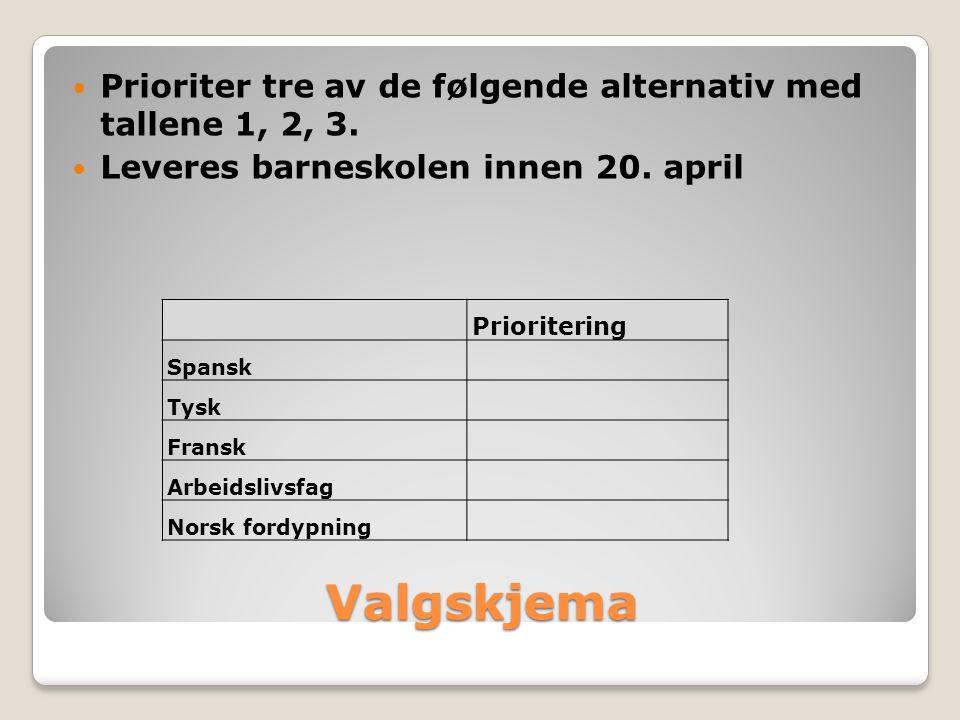 Valgskjema Prioriter tre av de følgende alternativ med tallene 1, 2, 3.