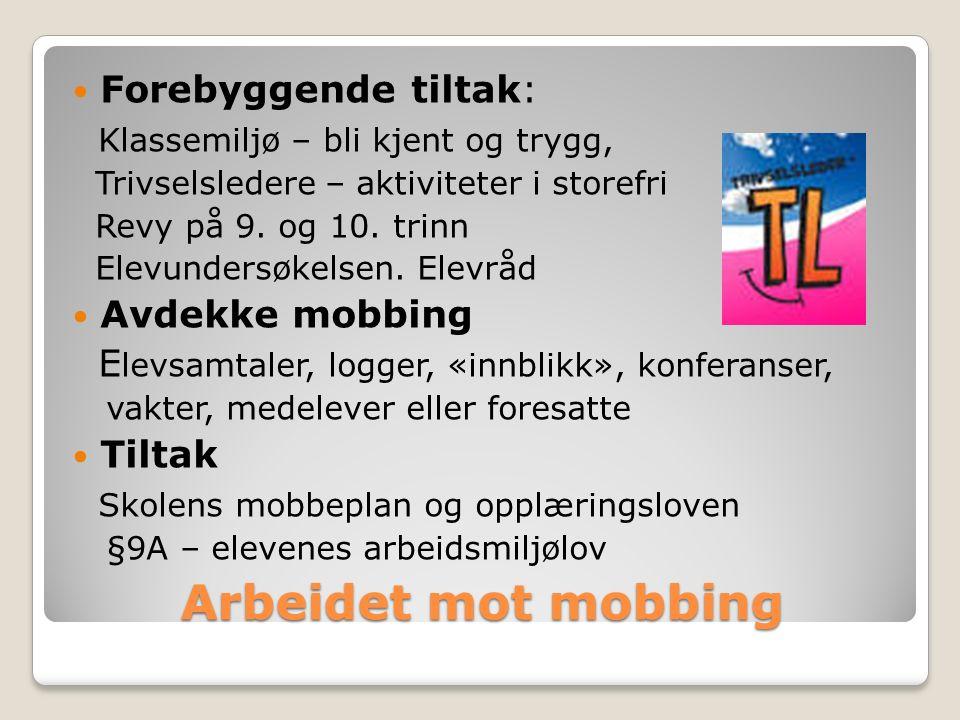 Arbeidet mot mobbing Forebyggende tiltak: Klassemiljø – bli kjent og trygg, Trivselsledere – aktiviteter i storefri Revy på 9.