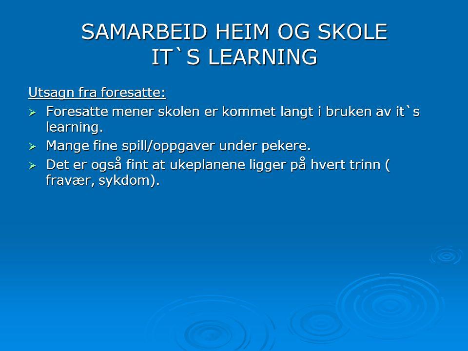 SAMARBEID HEIM OG SKOLE IT`S LEARNING Utsagn fra foresatte:  Foresatte mener skolen er kommet langt i bruken av it`s learning.