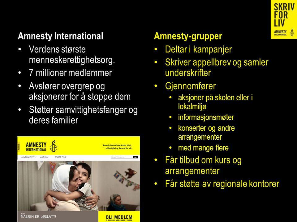 Amnesty International Verdens største menneskerettighetsorg. 7 millioner medlemmer Avslører overgrep og aksjonerer for å stoppe dem Støtter samvittigh