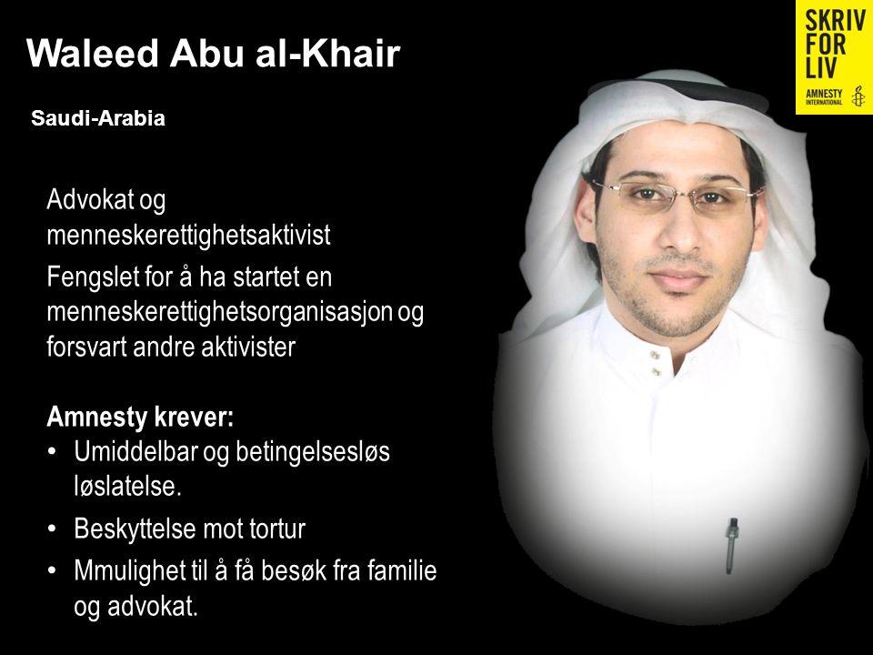 Waleed Abu al-Khair Saudi-Arabia Advokat og menneskerettighetsaktivist Fengslet for å ha startet en menneskerettighetsorganisasjon og forsvart andre a