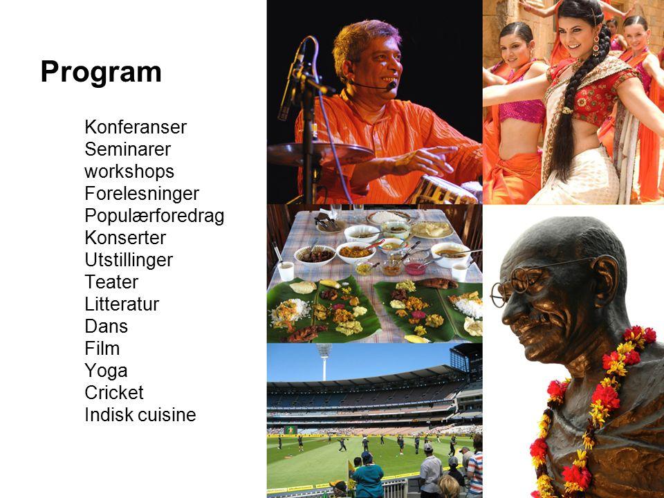 Program Konferanser Seminarer workshops Forelesninger Populærforedrag Konserter Utstillinger Teater Litteratur Dans Film Yoga Cricket Indisk cuisine