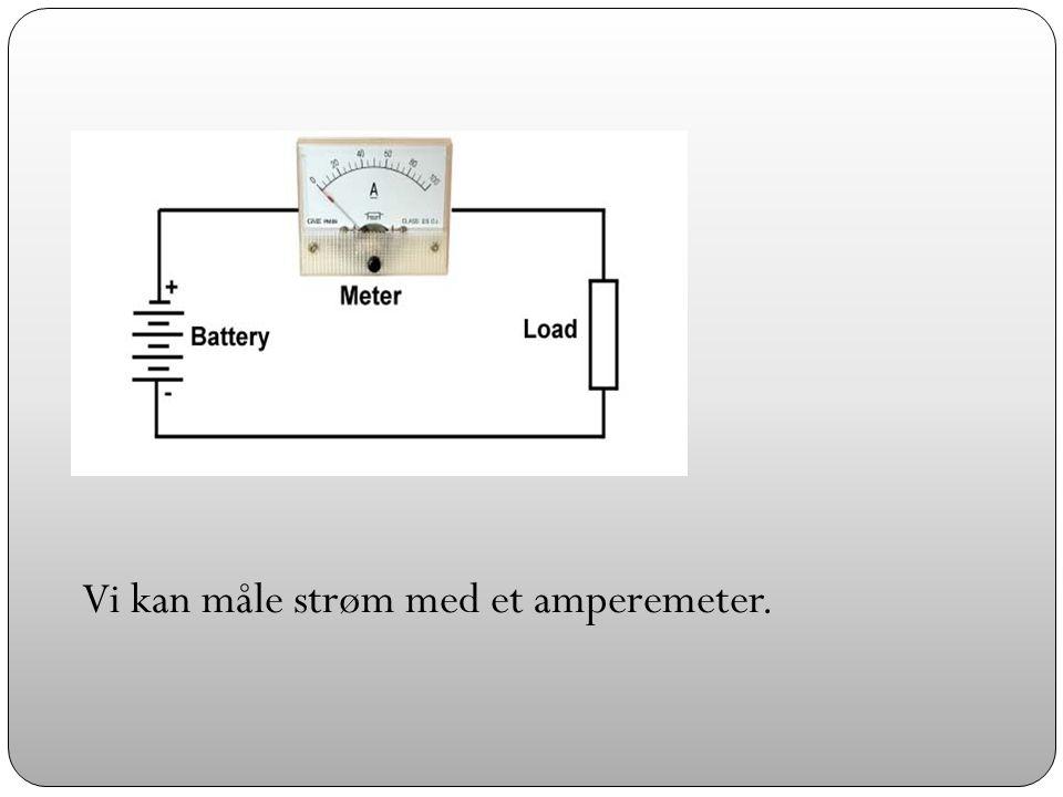 Vi kan måle strøm med et amperemeter.