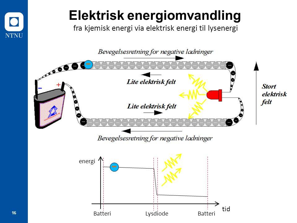16 Elektrisk energiomvandling fra kjemisk energi via elektrisk energi til lysenergi tid energi BatteriLysdiode - Batteri -