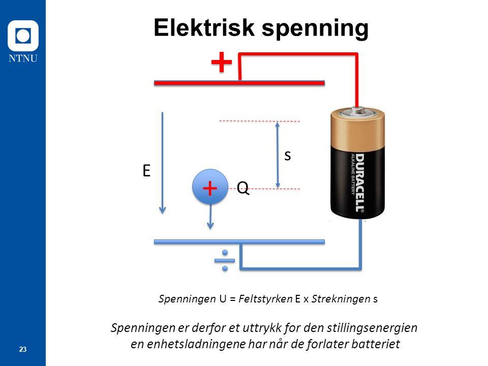 23 Elektrisk spenning E s Spenningen U = Feltstyrken E x Strekningen s Spenningen er derfor et uttrykk for den stillingsenergien en enhetsladningene h