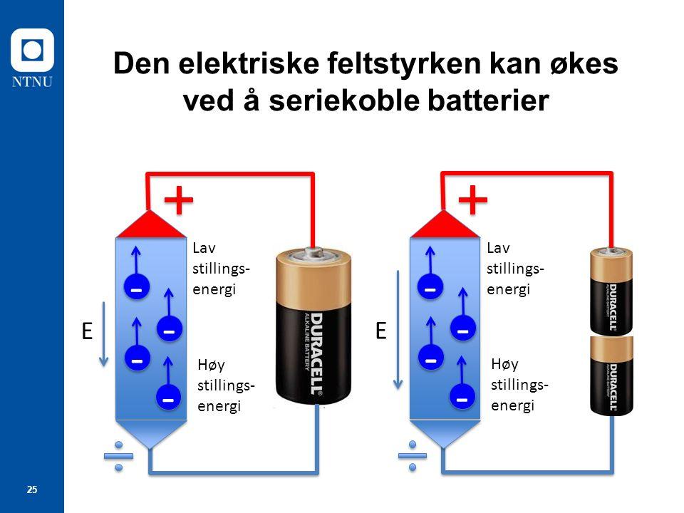 25 Den elektriske feltstyrken kan økes ved å seriekoble batterier - - E - - - - - - Høy stillings- energi Lav stillings- energi - - E - - - - - - Høy