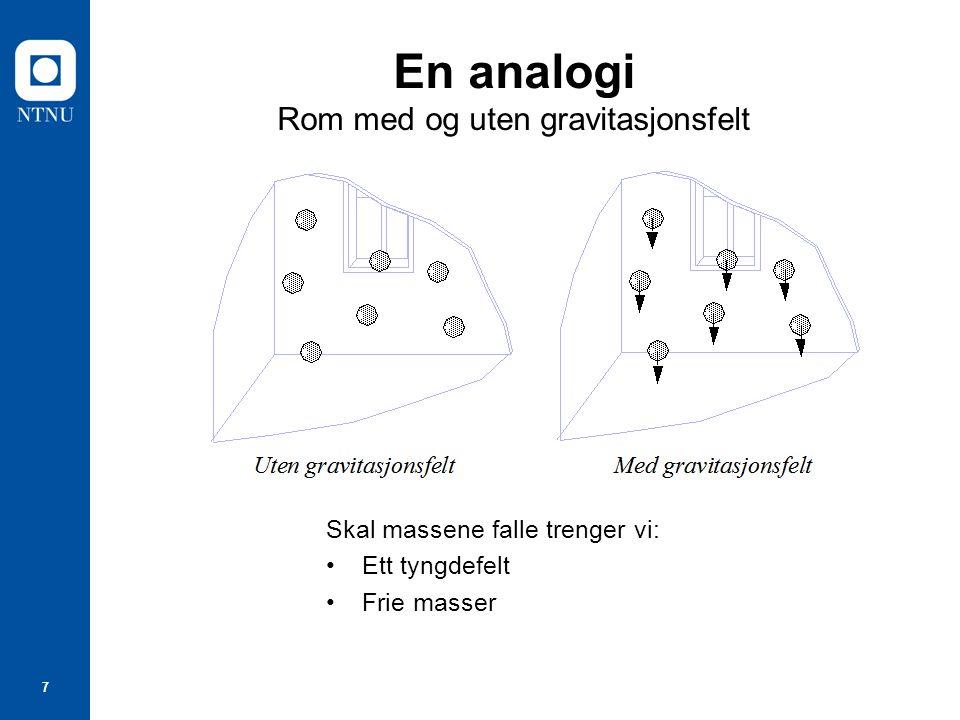 7 En analogi Rom med og uten gravitasjonsfelt Skal massene falle trenger vi: Ett tyngdefelt Frie masser
