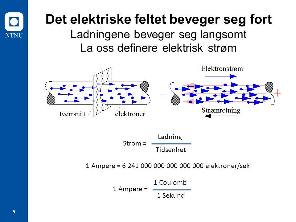 9 Det elektriske feltet beveger seg fort Ladningene beveger seg langsomt La oss definere elektrisk strøm 1 Ampere = 6 241 000 000 000 000 000 elektron