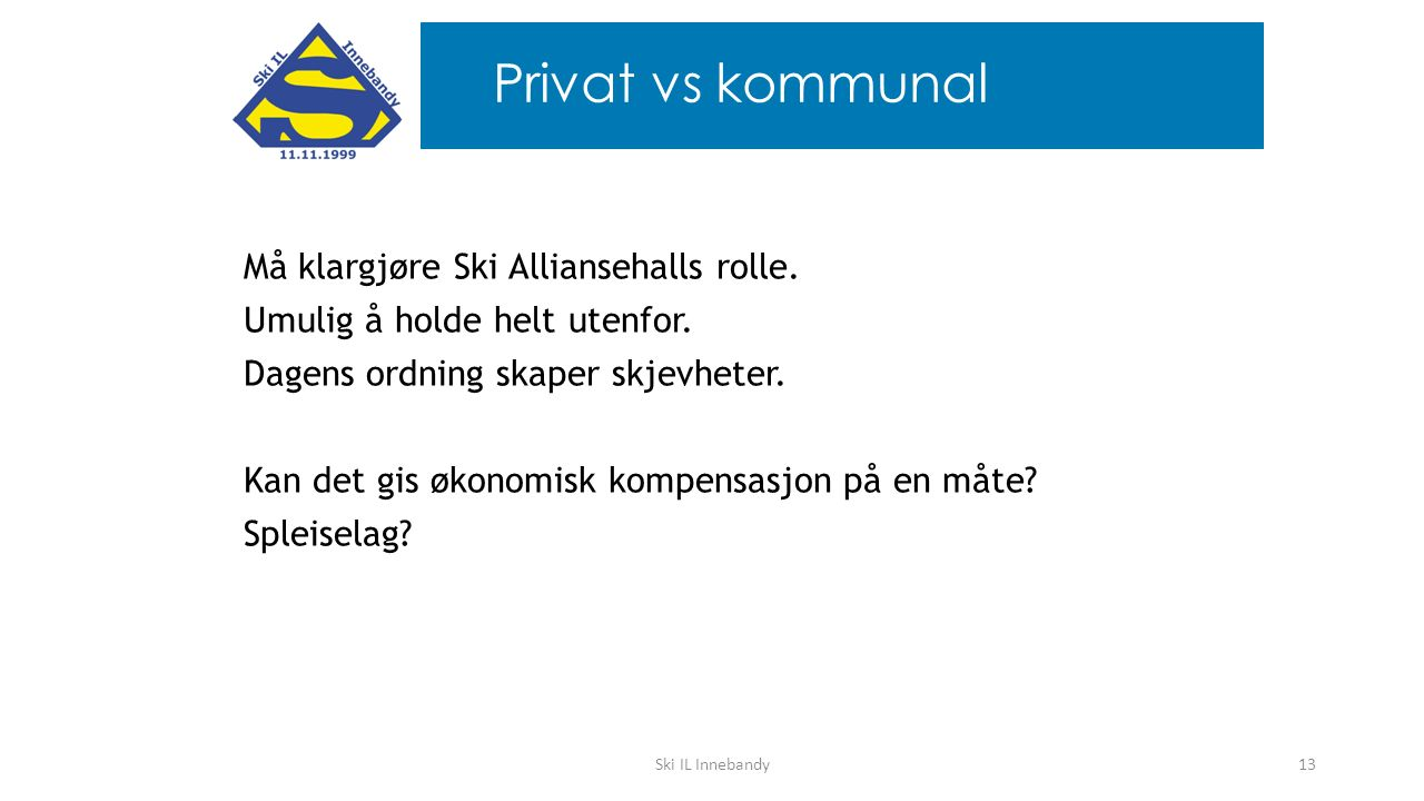 Må klargjøre Ski Alliansehalls rolle. Umulig å holde helt utenfor. Dagens ordning skaper skjevheter. Kan det gis økonomisk kompensasjon på en måte? Sp