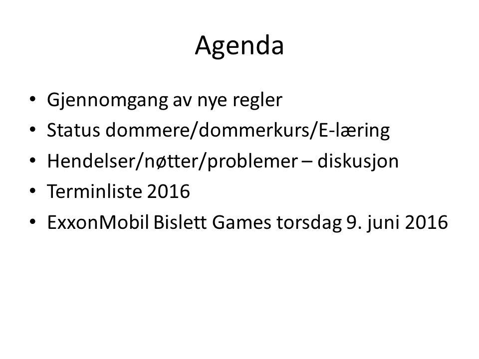 Agenda Gjennomgang av nye regler Status dommere/dommerkurs/E-læring Hendelser/nøtter/problemer – diskusjon Terminliste 2016 ExxonMobil Bislett Games t