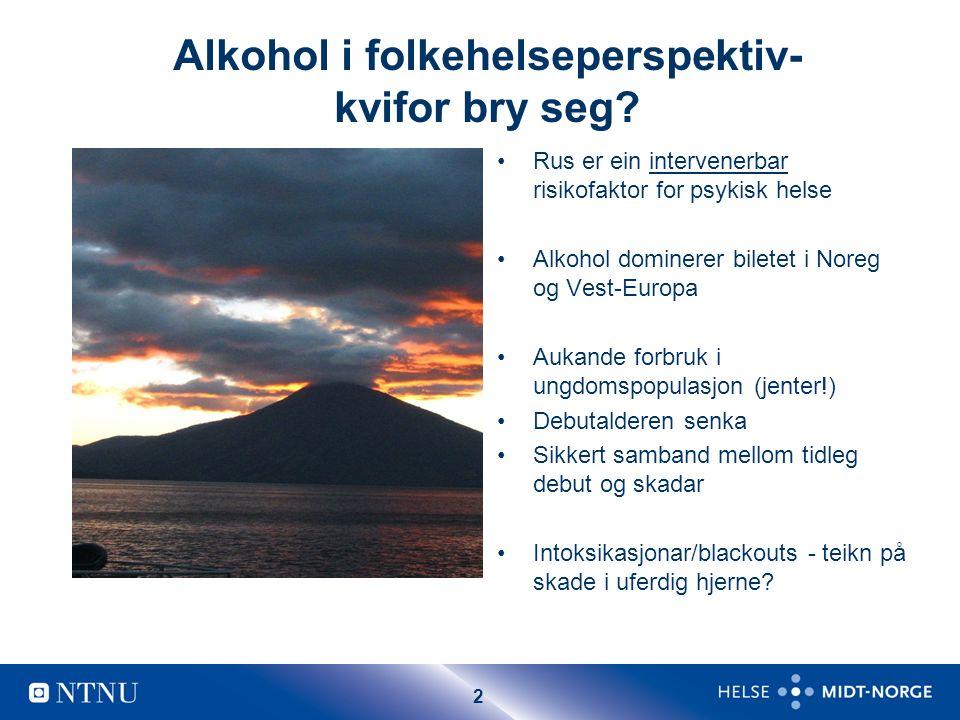 13 Alkohol og psykisk helse Prosent som har vore full meir enn 10 gong, delt etter ulike psykiske helseproblem.