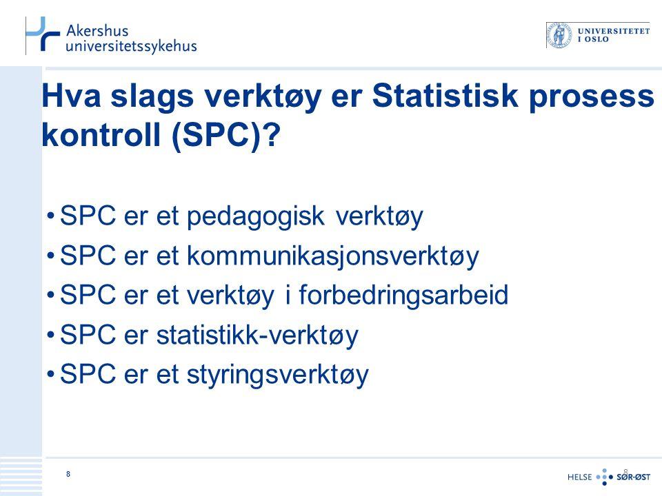 9 9 Statistisk prosesskontroll Oppsett og analyse av data i en tidsserie 1.Nivåkontroll (i overensstemmelse med god praksis/god kvalitet) 2.Variasjonskontroll (stabile og forutsigbare tjenester) 3.Forbedringskontroll (sikre at forbedringer dokumenteres)