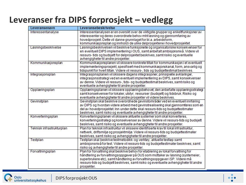 Leveranser fra DIPS forprosjekt – vedlegg DIPS forprosjekt OUS