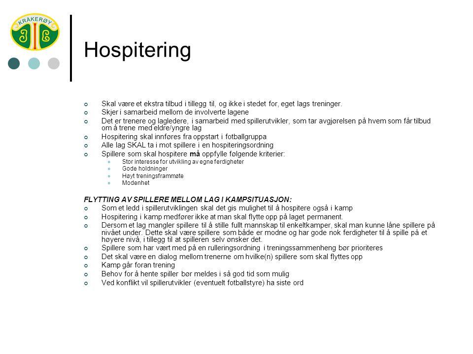 Hospitering Skal være et ekstra tilbud i tillegg til, og ikke i stedet for, eget lags treninger.