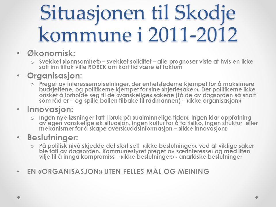 Situasjonen til Skodje kommune i 2011-2012 Økonomisk: o Svekket «lønnsomhet» – svekket soliditet – alle prognoser viste at hvis en ikke satt inn tilta