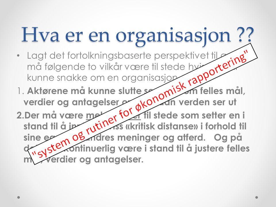 Hva er en organisasjon ?? Lagt det fortolkningsbaserte perspektivet til grunn må følgende to vilkår være til stede hvis en skal kunne snakke om en org
