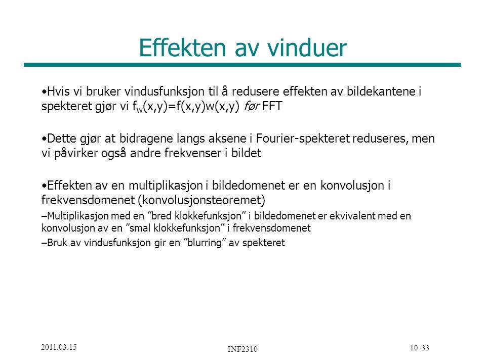 10 /33 2011.03.15 INF2310 Effekten av vinduer Hvis vi bruker vindusfunksjon til å redusere effekten av bildekantene i spekteret gjør vi f w (x,y)=f(x,
