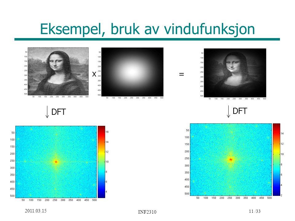 11 /33 2011.03.15 INF2310 Eksempel, bruk av vindufunksjon DFT x =
