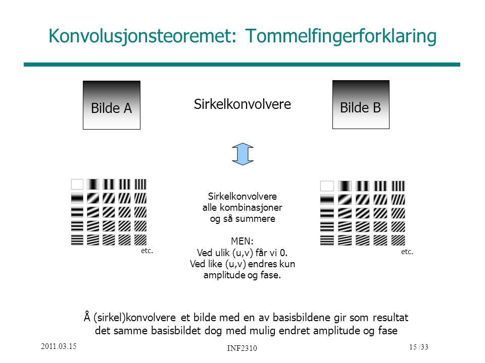 15 /33 2011.03.15 INF2310 Bilde A Bilde B Sirkelkonvolvere Sirkelkonvolvere alle kombinasjoner og så summere MEN: Ved ulik (u,v) får vi 0. Ved like (u
