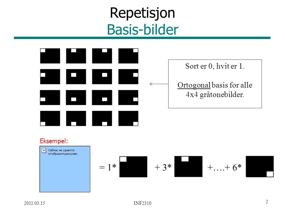 3 /33 2011.03.15 INF2310 Alternativ basis Bildene med frekvensene Alle digitale gråtonebilder av størrelse NxN kan representeres ved en vektet summasjon av disse NxN sinus- og cosinus-bildene (basisbilder/basisvektorer) u = 0,1,…,N-1 v = 0,1,…,N-1 Ved ikke-kvadratiske bilder: cos(2π(ux/M+vy/N)) sin(-2π(ux/M+vy/N))