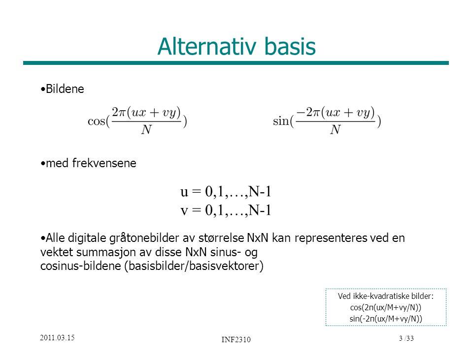 3 /33 2011.03.15 INF2310 Alternativ basis Bildene med frekvensene Alle digitale gråtonebilder av størrelse NxN kan representeres ved en vektet summasj