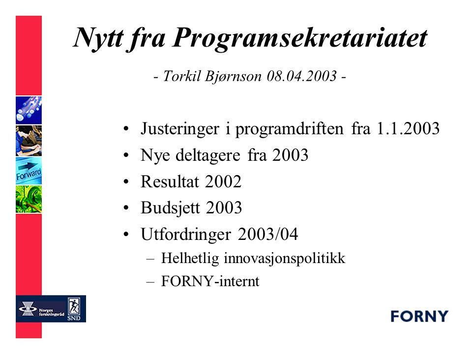Fordeling pr departement 2003
