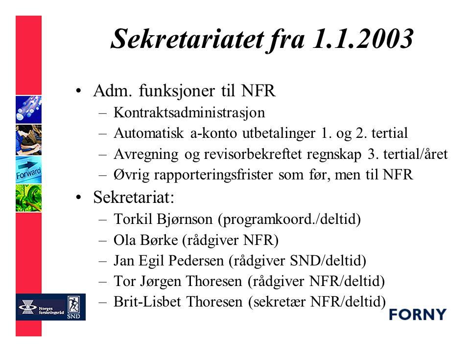 Nytt fra Programsekretariatet - Torkil Bjørnson 08.04.2003 - Justeringer i programdriften fra 1.1.2003 Nye deltagere fra 2003 Resultat 2002 Budsjett 2003 Utfordringer 2003/04 –Helhetlig innovasjonspolitikk –FORNY-internt