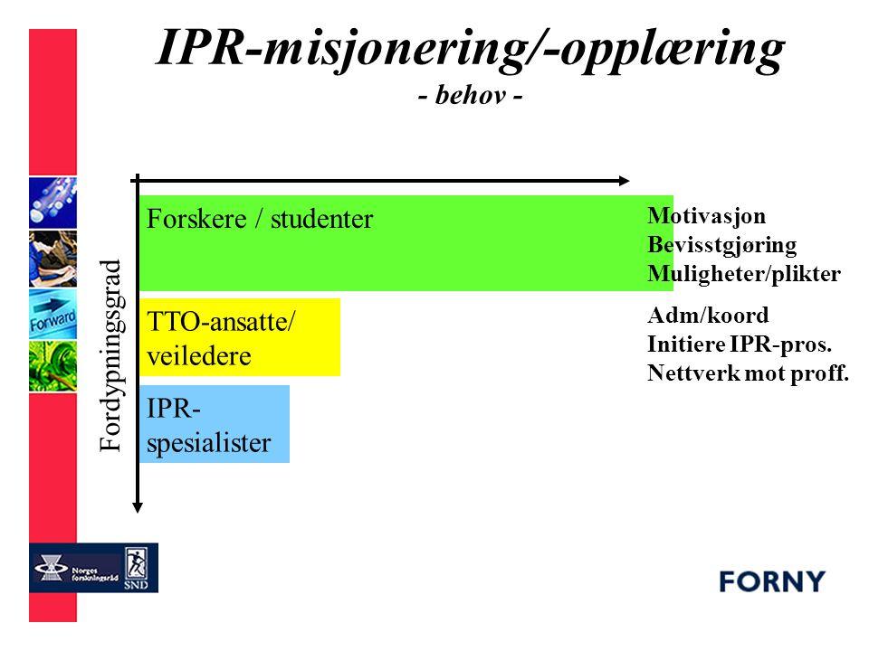 IPR-misjonering/-opplæring - målgrupper - Forskere / studenter TTO-ansatte/ veiledere IPR- spesialister Fordypningsgrad Antall MÅL- GRUPPE