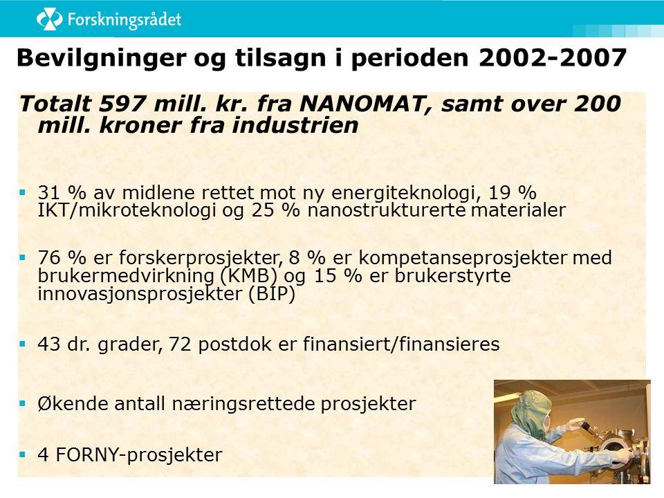 Bevilgninger og tilsagn i perioden 2002-2007 Totalt 597 mill.