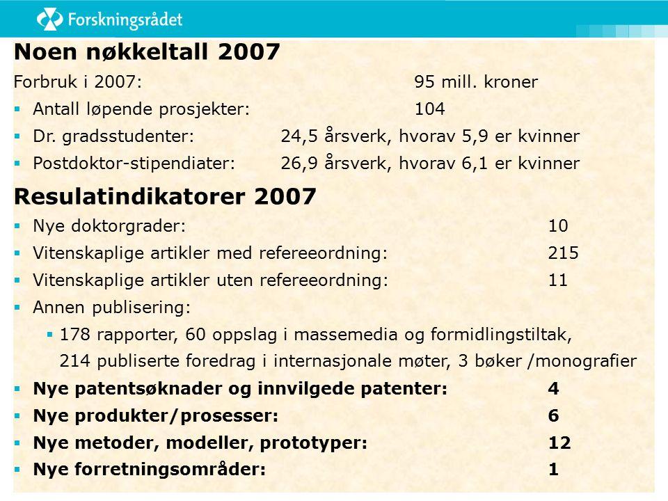Noen nøkkeltall 2007 Forbruk i 2007:95 mill. kroner  Antall løpende prosjekter:104  Dr.