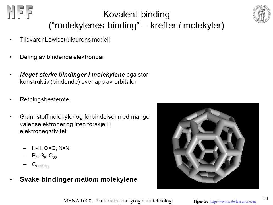 MENA 1000 – Materialer, energi og nanoteknologi Kovalent binding ( molekylenes binding – krefter i molekyler) Tilsvarer Lewisstrukturens modell Deling av bindende elektronpar Meget sterke bindinger i molekylene pga stor konstruktiv (bindende) overlapp av orbitaler Retningsbestemte Grunnstoffmolekyler og forbindelser med mange valenselektroner og liten forskjell i elektronegativitet –H-H, O=O, N  N –P 4, S 8, C 60 –C diamant Svake bindinger mellom molekylene Figur fra http://www.webelements.comhttp://www.webelements.com 10