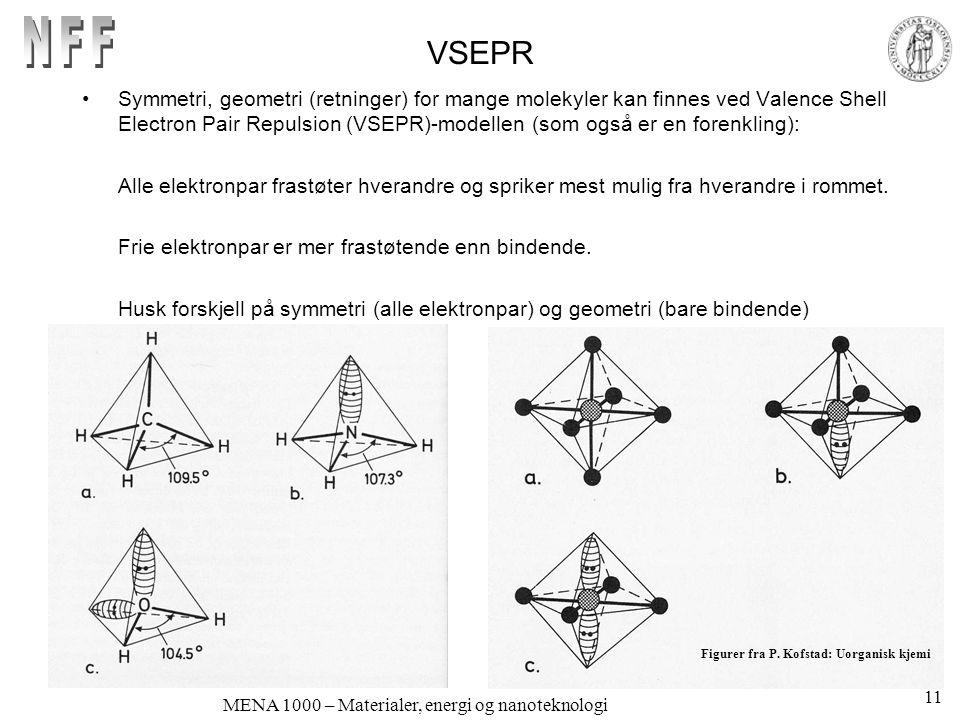 MENA 1000 – Materialer, energi og nanoteknologi VSEPR Symmetri, geometri (retninger) for mange molekyler kan finnes ved Valence Shell Electron Pair Repulsion (VSEPR)-modellen (som også er en forenkling): Alle elektronpar frastøter hverandre og spriker mest mulig fra hverandre i rommet.