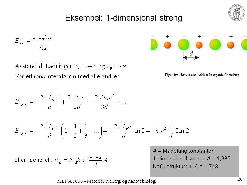 MENA 1000 – Materialer, energi og nanoteknologi Eksempel: 1-dimensjonal streng A = Madelungkonstanten 1-dimensjonal streng: A = 1,386 NaCl-strukturen: