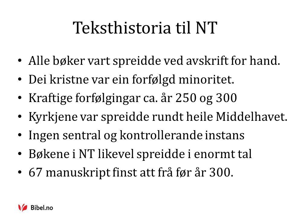 Teksthistoria til NT Alle bøker vart spreidde ved avskrift for hand.