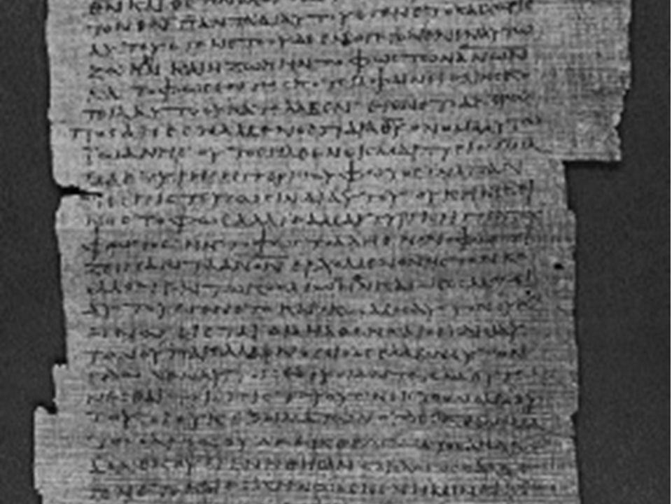 Teksthistoria til NT Papyrus: Framstilt av stilken på papyrusplanta.